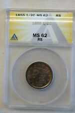 1855 ANACS MS 62 RB Braided Hair Half Cent Coin 1/2c