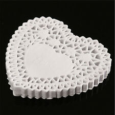 4 inch White Lace Heart Shape Paper Doilies Pad for Cookie Cake Place mat 250Pcs