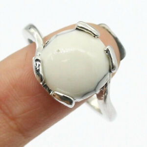 White Opal 925 Silver Plated Handmade Gemstone Ring of US Size 9.25 Ethnic Gift