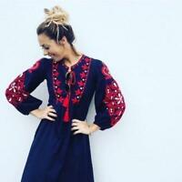 BOHO womens 2018 NAVY FLORAL TASSELED EMBROIDERED LONG DRESS Bloggers