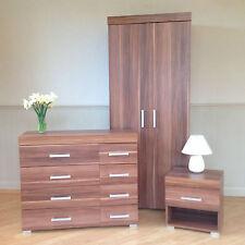 3 Piece Walnut Effect Bedroom Set! Wardrobe, 4+4 Drawer Chest, Bedside Table! 8