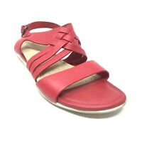Women's Ecco Slingback Sandals Shoes Size 40 EU/9-9.5 US Red Leather Casual K3
