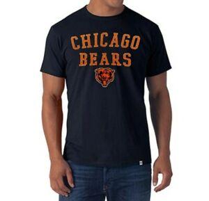Chicago Bears NFL '47 Brand Navy Classic Track Scrum Men's Tee Shirt New nwt
