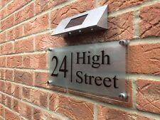 MODERN HOUSE SIGN PLAQUE DOOR NUMBER STREET GLASS LARGE ADDRESS SIGN SOLAR LIGHT