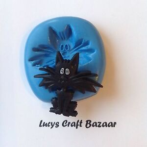 Silicone Mould Halloween Scaredy Fraidy Cat Spooky Cupcake Pop Topper Decoration