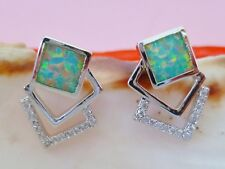 WHITE FIRE OPAL 8mm SQUARE STUD EARRINGS with  Clear Stones 925 Sterling Silver