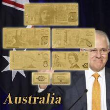 WR 5PCS Australia Polymer Banknotes Set 24K Gold Foil Dollar Note + Certificate