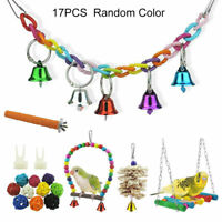 17 Packs/Set Beaks Metal Rope Small Parrot Toys Budgie Cockatiel Cage Bird Toys