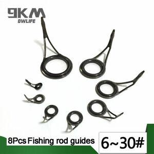 8Pcs Fishing Rod Guide Rod Repair Kit Stainless Steel Ceramic Eye Ring 6#~30#