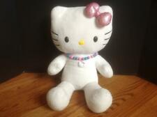 """Build A Bear Plush HELLO KITTY 18""""  White, Sparkle Pink Bow & Necklace ! DARLING"""