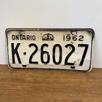 Vintage 1962 ONTARIO License Plate K-26027 White Black Metal w Crown - Man Cave!