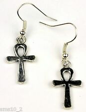 Hand Made Silver Colour Ankh Cross Earrings HCE349
