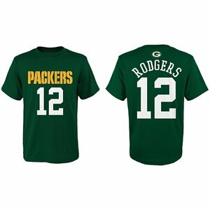 Green Bay Packers Aaron Rodgers NFL #12 Youth Name and Number Tee Med.10/12