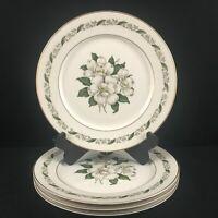 Set of 4 VTG Dinner Plates by Royal Jackson Magnolia Floral Vogue Ceramic USA