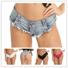 Sexy Womens Mini Denim Shorts Thong Jean Triangle Shorts Beach Shorts Hot Pants