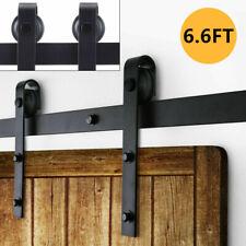 Sliding Barn Door Hardware Kit 6.6FT Modern Closet Hang Style Track Rail Black