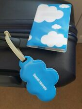 Travel passport cover and luggage tag clouds, holiday wallet
