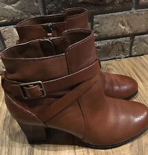 Womens Cole Haan Cassidy Buckle block heel Leather Brown ankle Boots size 7.5 B