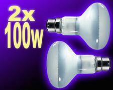 2x Reflector Spot Lamp Bulb BC Bayonet 80-mm 100w Clear WhiteUK
