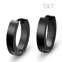 T&T Plain Black Stainless Steel Narrow Hoop Earrings Large 16mm EH01D(3x12)