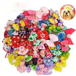 20/30x Pet Dog Cat Hair Bows Pearl Flower Rubber Band Puppy Headdress Accessory