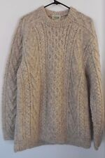 CARRAIG DONN Pure New Wool Irish Fisherman Sweater ~ Men's Size 44