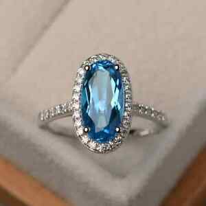 Oval Cut Natural Swiss Blue Topaz Ring-Engagement Ring-December Stone ring