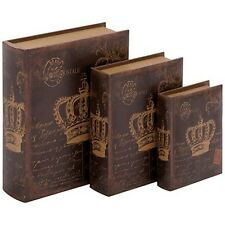Deco 79 55731 Wood Book Box 13 by 10 by 8-Inch Set of 3 NEW