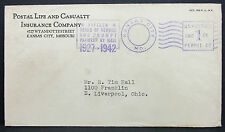Us ADV cover kansas city insurance payment paid Stamp 1c 1942 EE. UU. carta (h-7129