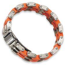 "Men's Chisel Stainless Steel Orange Rubber Deployment Buckle Bracelet 8"""