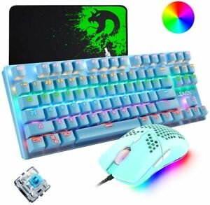 Mechanical Gaming Keyboard Lightweight Honeycomb Mouse Combo Wired RGB Backlit
