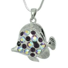 "Made With W Swarovski Crystal Purple Fish Aquarium Sea Pendant 18"" Chain"