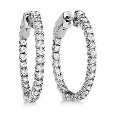 CERTIFIED 1.00ct 1ct ONE CARAT ROUND-CUT E/VVS2 DIAMONDS 14K GOLD HOOP EARRINGS
