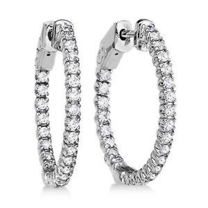 CERTIFIED 1.00ct 1ct ONE CARAT ROUND-CUT E/VVS2 DIAMONDS 14K GOLD HOOP EARRINGS