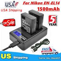 2X EN-EL14 Battery + LCD Dual Charger For Nikon D3300 D3200 D3100 D5100 D5200 EG