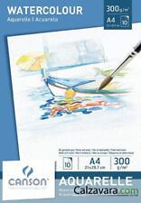 CANSON Blocco Disegno | Aquarelle Watercolour Grana Fine | A4 10 Fogli 300 gr/mq