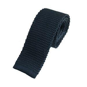Men's Plain Navy Blue Narrow Slim Skinny Silk Knitted Tie (N003)