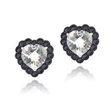 925 Silver 4.5ct White Topaz & Black Spinel Heart Stud Earrings