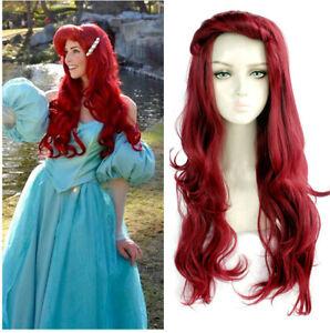 Little Mermaid Ariel Curly 70cm Long Dark Red Wavy Cosplay Wig Halloween Wigs