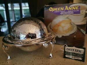 Queen Anne Silver Plated Regency Butter Dish Excellent Conditon Original
