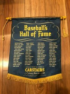 Vintage ~ 1950's ~ Baseball's Hall of Fame ~ Silk Pennant ~ Carstairs ~ Scarce