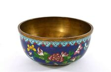 Late 19th Century Chinese Gilt Cloisonne Enamel Cobalt Bowl with Flowers