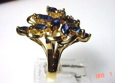 Genuine Sapphire Solid 14-kt Gold Cluster Ring, Magnificent, Super Value (#2165)