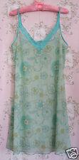 Rare! Vtg 60s 70s Sheer Floral Lace Petticoat Slip Dress Green Blue Yellow White