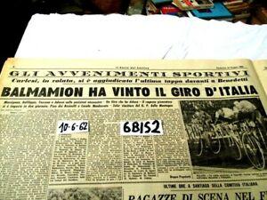CICLISMO BALMAMION VINCE IL GIRO D'ITALIA RESTO DEL CARLINO 10 GIU 1962 (6BIS2)