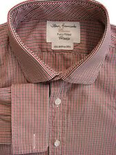 JOHN FRANCOMB TM LEWIN Shirt Mens 15 S White Red & Green Check FULLY FITTED NEW