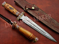 Custom Handmade Damascus Steel Hunting FISH DAGGER Knife With Olive-wood Handle
