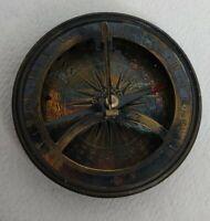Vintage Brass Maritime Marine Sundial Compass tarnished beauty