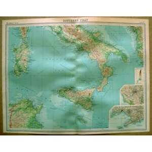 ITALY Southern Part inset of Naples, Rome - Vintage Map 1922 by Bartholomew