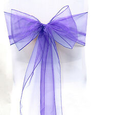 10/25/50/100 Organza Sashes Chair Covers Sashes Bow Banquet Wedding Party Decor